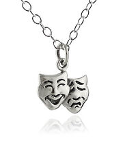Tiny Comedy Tragedy Pendant Necklace - 925 Sterling Silver - Theatre Drama NEW