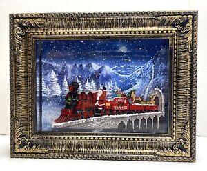 "RAZ IMPORTS Christmas Lantern 10"" SANTA'S EXPRESS Lighted Water Picture Frame"