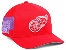 DETROIT RED WINGS NHL HOCKEY FIGHTS CANCER ADIDAS FLEXFIT RED HAT SZ SML-MED NWT