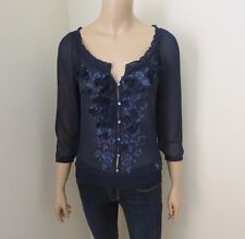 NWT Abercrombie Womens Sheer Top Size XS Shirt Embellished Flower Petals