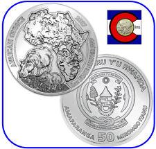 2017 Rwanda African Hippo 1 oz Silver Coin in original mint sealed pack