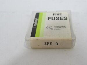 Littelfuse SFE-9 Automotive Glass Body Fuse 9A 32V 5-Pack ! NEW !
