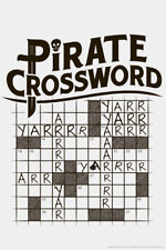Pirate Crossword Puzzle Arr Yarr Humor Poster - 12x18
