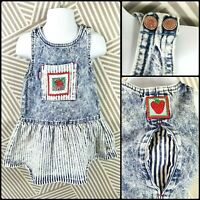 Vtg 80s 90s Levis Girls Acid Stone Wash Size 3T Dress Overall Skirt Strawberry