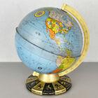 """VTG Ohio Art Co 9"""" Diameter World Globe Horoscope Zodiac Lithograph Tin 1962"""
