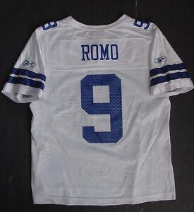 Tony Romo 9 Jersey WOMEN'S Dallas Cowboys REEBOK White Blue Sz L NWT