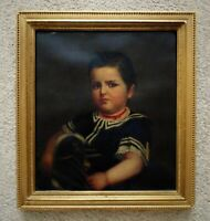 19th c. Portrait Oil Painting Young Boy Henry Edward Dreier Antique Victorian