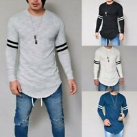 Blouse Long Casual Tops Tee T-shirt O-Neck Men's Fashion Muscle Fit Sleeve Slim