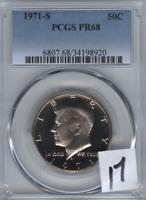 1971-S US Kennedy Half Dollar 50c .50 PCGS PR68  Cameo Obverse
