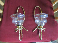 "2 Vintage Home Interiors Twisted Rope Gold Sconces & 2 Etched Votive Cups 12"" T"