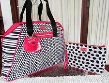 Betsey Johnson Dome Weekender Stripes Dots Fushia Travel & XL Cosmetic Bag NWT