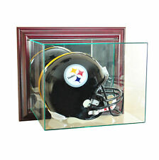 WALL MOUNT UV REAL GLASS FULL SIZE FOOTBALL HELMET DISPLAY CASE CHERRY WOOD