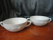 (2) Milk Glass Floral Band Double Handle Soup Bowl Cup Mush Indiana Glass