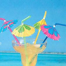 20Pcs Umbrella Plastic Drinking Straw Cocktail Beach Party Fruit Straw Supply