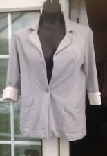 NEW LOOK GREY 3/4 TURN UP SLEEVED SINGLE BUTTON JACKET - SIZE 10
