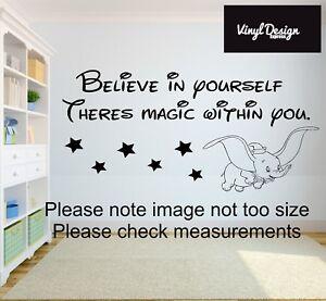 Dumbo Disney Believe In Yourself There's Magic quote Vinyl Bedroom wall art