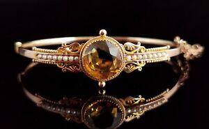 Antique Victorian 9ct gold Citrine and pearl bangle