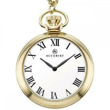 Accurist 7213 Gents Quartz Gold Tone White Dial Pocket Watch And Chain RRP£89.99