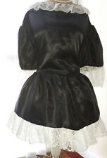 Sissy Maid Satin Noir Robe cocue forcé Féminisation, dociles, taille 18