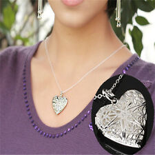 Showy Silver Color Stylish Hollow Heart Shape Photo Frame Cute Pendant Necklace
