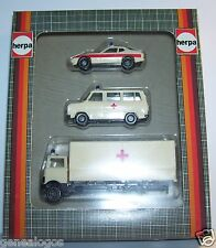 HERPA HO 1/87 3 MODELES CAMION MERCEDES + FORD TRANSIT + PORSCHE 924 CROIX ROUGE