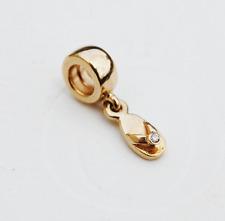 "Genuine Pandora 14ct Gold Charm ""Flip Flop"" Summer Sandal with Diamond - 750433D"