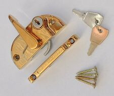 Sliding Sash Window Fitch Lock Gold / Brass Keyed Lockable & Screws 8mm Receiver