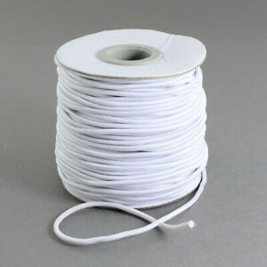 White Thin 2mm Round Elastic Polyester Shock Cord Stretchy Sewing Craft Masks