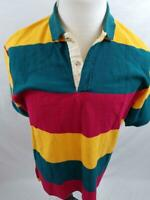 VTG Southport Supply Mens L USA Made Striped Colorblock Polo Shirt Rugby