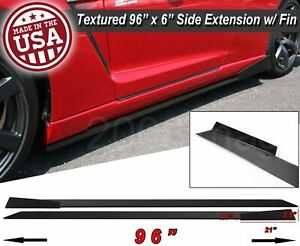 "96"" Extension Flat Bottom Line Lip Side Skirt w/ Fin Diffuser For  Hyundai Kia"