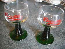 CROCODILLO * 2 Vintage Wine Glasses * Green Ribbed Stem * France * Retro 60s/70s