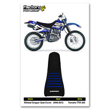 2000-2012 Yamaha TTR 250 SEAT COVER Ribbed GRIPPER Black/Blue Ribs by Enjoy MFG