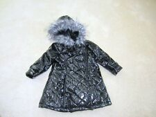Toddler girls size 18 months Black Vinyl raincoat rain jacket furry hood dressy