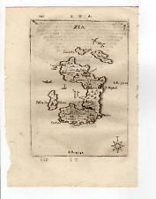 GREECE PIACENZA 1688 MAP OF ZEA KEA