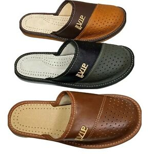 Mens Leather Slippers BLACK GRAY BROWN VIP Mules  All Sizes 7 8 9 10 11 12