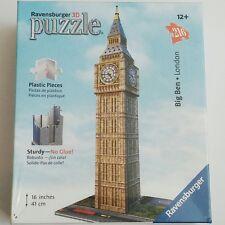 "Big Ben • London • Ravensburger 16"" 216 Piece 3D Puzzle New No Glue Sturdy • NEW"