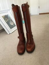 Polo/Riding Boots Brown Leather Front Zip Size 6