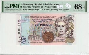 Guernsey 1996 5 Pounds PMG Certified Banknote UNC 68 Superb Gem EPQ Top Pop 56c