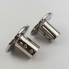 "Pair 7/8""Hand Rail Fittings 90 Degree Round Base Marine Stainless Steel Durable"