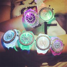 Hot LED Watch Luminous Diamond Crystal Dial Analog Quartz Wrist Watch Kids Gifts
