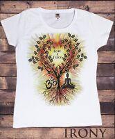 Womens Top 'Love & Peace' Buddha Yoga Meditation Om India zen Tree Heart TS1071