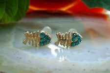 Ear Studs Earrings Fish Bone Fish Bone Gold Plated with Crystal Turquoise