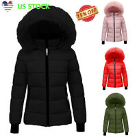 WOMEN'S LADIES QUILTED WINTER COAT PUFFER FUR COLLAR HOODED JACKET PARKA OUTWEAR