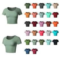 Basic Cute Scoop Neck Cotton Short Sleeve Crop Top