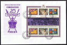 Niue FDC 25th Anniversary of the Coronation 1978 Mini-Sheet MS248 SG245/7