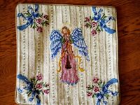 Vintage Style Needlepoint Toss Pillow Cover 14 x 14 Christmas Holiday Angel New