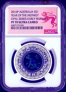 2016 Australia OPAL LUNAR Year of the MONKEY 1 oz Silver Proof Coin NGC PF70 ER