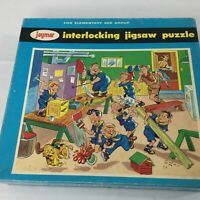 VIntage Interlocking Jigsaw Puzzle Danger Men Working Jaymar 5006