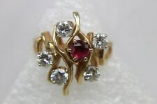 ~Deep Red RUBY & 5 DIAMOND  14KT Gold  ~ Cocktail Ring