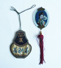 LATE 19th Century ANTIQUE CHINESE CHINA EMBROIDERY SCENT PURSE BAG AND MIRROR